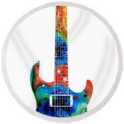 Colorful Electric Guitar 2 - Abstract Art By Sharon Cummings Round Beach Towel by Sharon Cummings