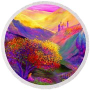 Colorful Enchantment Round Beach Towel by Jane Small