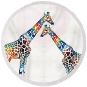 Colorful Giraffe Art - I've Got Your Back - By Sharon Cummings Round Beach Towel by Sharon Cummings