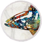 Colorful Grouper 2 Art Fish By Sharon Cummings Round Beach Towel by Sharon Cummings