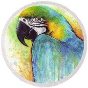 Macaw Painting Round Beach Towel by Olga Shvartsur
