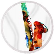 Colorful Saxophone By Sharon Cummings Round Beach Towel by Sharon Cummings