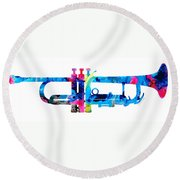 Colorful Trumpet 2 Art By Sharon Cummings Round Beach Towel by Sharon Cummings