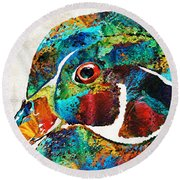 Colorful Wood Duck Art By Sharon Cummings Round Beach Towel by Sharon Cummings