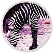 Colorful Zebra 2 - Buy Black And White Stripes Art Round Beach Towel by Sharon Cummings