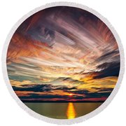 Colourful Cloud Collision Round Beach Towel by Matt Molloy