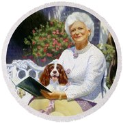 Companions In The Garden Round Beach Towel by Candace Lovely