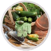 Courgette Basket With Garden Tools Round Beach Towel by Amanda Elwell