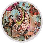 Coy Koi Round Beach Towel by Shadia Derbyshire