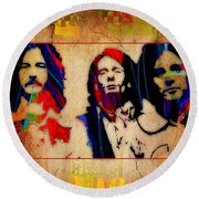 Cream Eric Clapton Jack Bruce Ginger Baker Round Beach Towel by Marvin Blaine