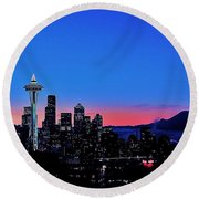 Crescent Moon Over Seattle Round Beach Towel by Benjamin Yeager