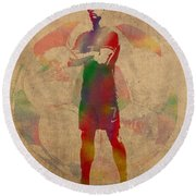 Cristiano Ronaldo Soccer Football Player Portugal Real Madrid Watercolor Painting On Worn Canvas Round Beach Towel by Design Turnpike