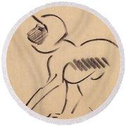 Crouching Monkey Round Beach Towel by Henri Gaudier-Brzeska