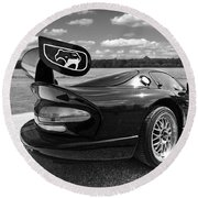 Curvalicious Viper Black And White - Square Round Beach Towel by Gill Billington