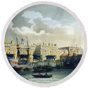 Custom House From The River Thames Round Beach Towel by T. & Pugin, A.C. Rowlandson