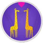 Cute Cartoon Giraffe Couple In Love Purple Edition Round Beach Towel by Philipp Rietz