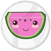 Cute Watermelon Illustration Round Beach Towel by Pati Photography
