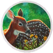 Daisy Deer Round Beach Towel by Crista Forest