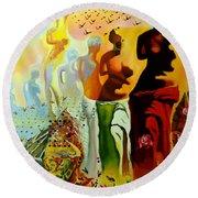 Dali Oil Painting Reproduction - The Hallucinogenic Toreador Round Beach Towel by Mona Edulesco