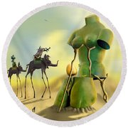 Dali On The Move  Round Beach Towel by Mike McGlothlen