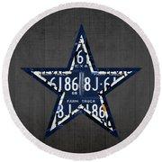 Dallas Cowboys Football Team Retro Logo Texas License Plate Art Round Beach Towel by Design Turnpike