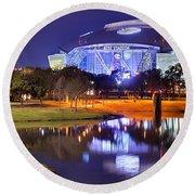 Dallas Cowboys Stadium At Night Att Arlington Texas Panoramic Photo Round Beach Towel by Jon Holiday