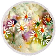 Dance Of The Daisies Round Beach Towel by Neela Pushparaj