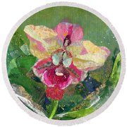 Dancing Orchid I Round Beach Towel by Shadia Derbyshire