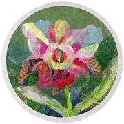 Dancing Orchid II Round Beach Towel by Shadia Derbyshire