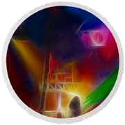 Def Leppard-adrenalize-gf10-fractal Round Beach Towel by Gary Gingrich Galleries