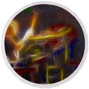Def Leppard-adrenalize-gf24-ricka-fractal Round Beach Towel by Gary Gingrich Galleries
