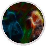 Def Leppard-adrenalize-jor-gb20--fractal Round Beach Towel by Gary Gingrich Galleries