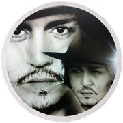 Johnny Depp - ' Depp ' Round Beach Towel by Christian Chapman Art