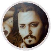Johnny Depp - ' Depp II ' Round Beach Towel by Christian Chapman Art