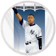 Derek Jeter 3000 Hits Round Beach Towel by Scott Weigner