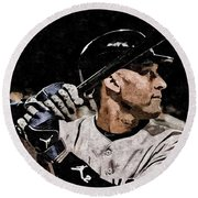 Derek Jeter On Canvas Round Beach Towel by Florian Rodarte