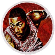 Derrick Rose Round Beach Towel by Maria Arango