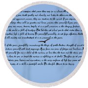 Desiderata Round Beach Towel by Bill Cannon