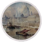 Design For The Thames Embankment Round Beach Towel by Thomas Allom