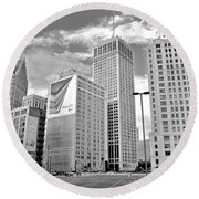 Detroit Black And White Round Beach Towel by Frozen in Time Fine Art Photography