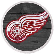 Detroit Red Wings Recycled Vintage Michigan License Plate Fan Art On Distressed Wood Round Beach Towel by Design Turnpike