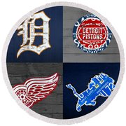 Detroit Sports Fan Recycled Vintage Michigan License Plate Art Tigers Pistons Red Wings Lions Round Beach Towel by Design Turnpike