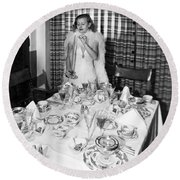 Dinner Party Table Setting Round Beach Towel by Underwood Archives