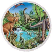 Dinosaur Waterfall Round Beach Towel by Mark Gregory