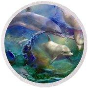 Dolphin Dream Round Beach Towel by Carol Cavalaris