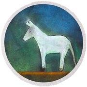 Donkey, 2011 Oil On Canvas Round Beach Towel by Roya Salari