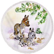 Donkeys Round Beach Towel by Diane Matthes