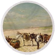 Donkeys On The Beach Round Beach Towel by Johannes Hubertus Leonardus de Haas