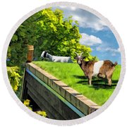 Door County Al Johnsons Swedish Restaurant Goats Round Beach Towel by Christopher Arndt