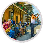 Doreen's Jazz New Orleans - Paint Round Beach Towel by Steve Harrington